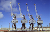 Four cranes on the wharves at Adelaide, SA.