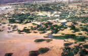Aerial view of an oasis on the edge of the desert in Kenya, Africa. 1981.
