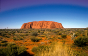 Ayers Rock/Uluru in central Australian desert, Northern Territory. 1992.