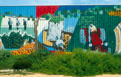 Mural art on the walls of the Berri Cannery in the Riverland of SA. 1993.