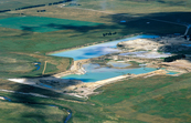 Aerial view of the sand mining operations near Bungendore, NSW. 1999.