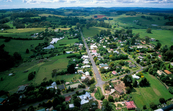 Aerial view of the rural community of Burrawang in the Wingecarribee Catchment, south of Sydney, NSW. 1999.