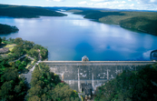 Aerial view of the Cataract Dam and Reservoir, NSW. 1999. [ID:4531]