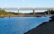 Late afternoon view of the railway bridge across the Burdekin River, near Charters Towers. QLD.