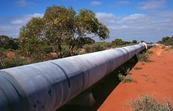 Section of the Perth - Kalgoorlie water supply pipeline near Merredin, WA. 1976.