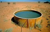 Bore water tank during drought near