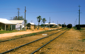 Railway siding at Rawlinna on the Indian Pacific Railway Line, 370 km east of Kalgoorlie in Western Australia. 1984.