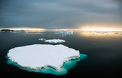 Icebergs are formed when pieces of ice break away from the Antarctic ice sheet