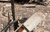 Remains of a destroyed property at Kinglake after the 'Black Saturday' bushfires