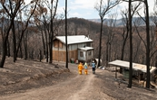 Researchers at a property at Strathewen that survived the 'Black Saturday' bushfires
