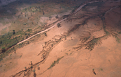 Aerial view of soil erosion.