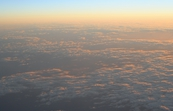 Aerial view of clouds over Bass Strait at dawn.