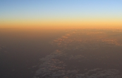 Sunrise from the air over Bass Strait at dawn. [ID:3100]