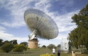 The view of the CSIRO Parkes radio telescope from the visitors centre and dish cafe