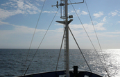 The view over the bow of the RV Southern Surveyor