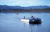 CSIRO's autonomous, solar-powered catamaran on Lake Wivenhoe... [ID:11645]