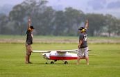 The team from the University of North Dakota do a pre-flight check on their Unmanned Aerial Vehicle (UAV)