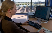 Tania Ritchie operating the mirror controls at the National Solar Energy Centre, Newcastle