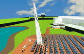 High density solar tower field for the National Solar Energy Centre at the CSIRO Energy Centre, Newcastle, NSW<br>Digital image by Cox Richardson Architects and Planners