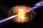 An artist's impression of magnetar XTE J1810-197 showing the radio emissions and the magnetic field.