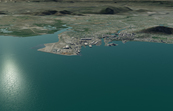 Townsville before inundation from storm surge.