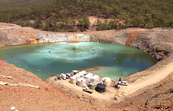 View of a mine wastewater pit