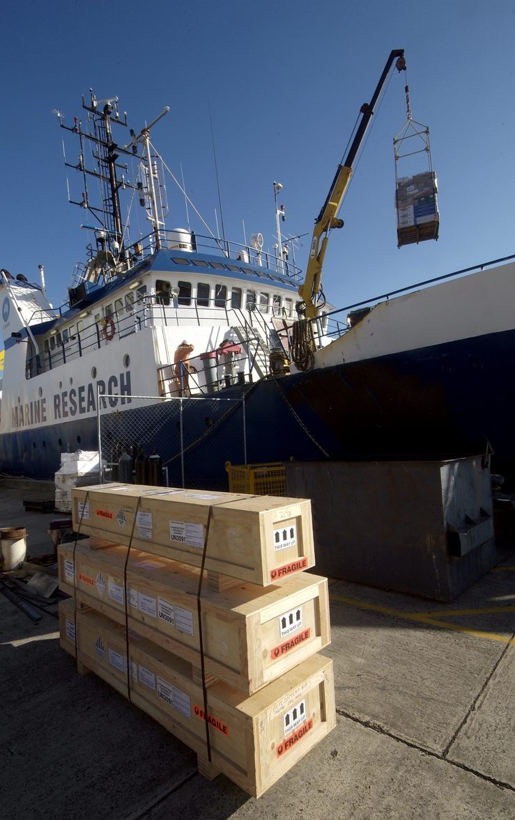 Argo floats, boxed Argo floats ready for deployment