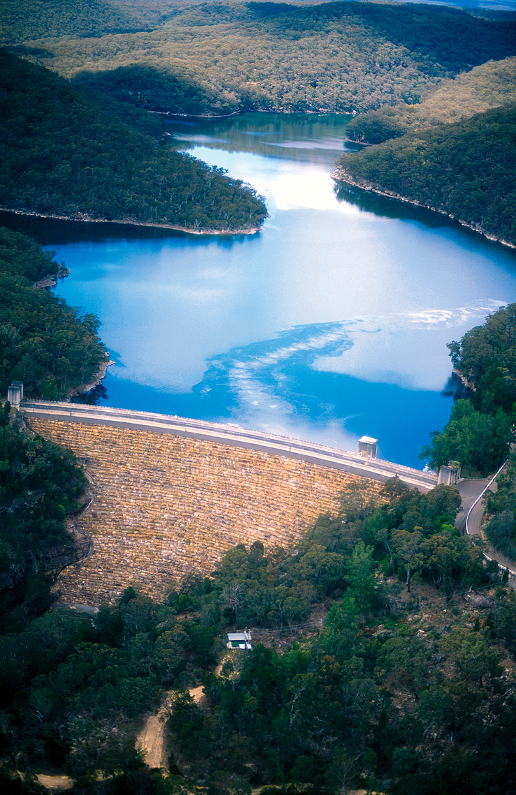 Aerial view of the Avon Dam and Reservoir, NSW. 1999.