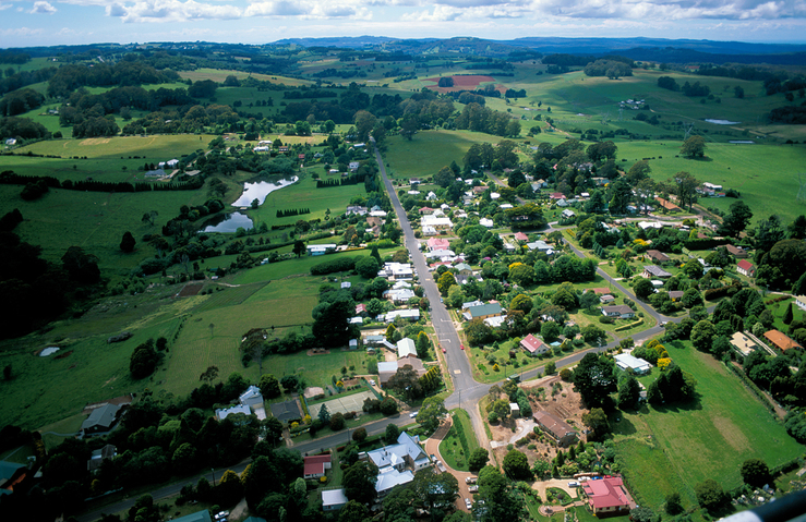 Aerial view of the rural community of Burrawang in the Winge...