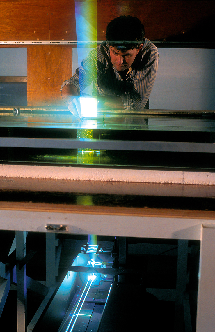 Dr Paul Hutchinson setting up a broad laser beam in a water ...