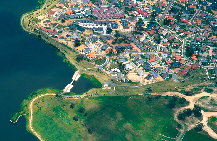 Aerial view of new housing developments in the Canberra subu...