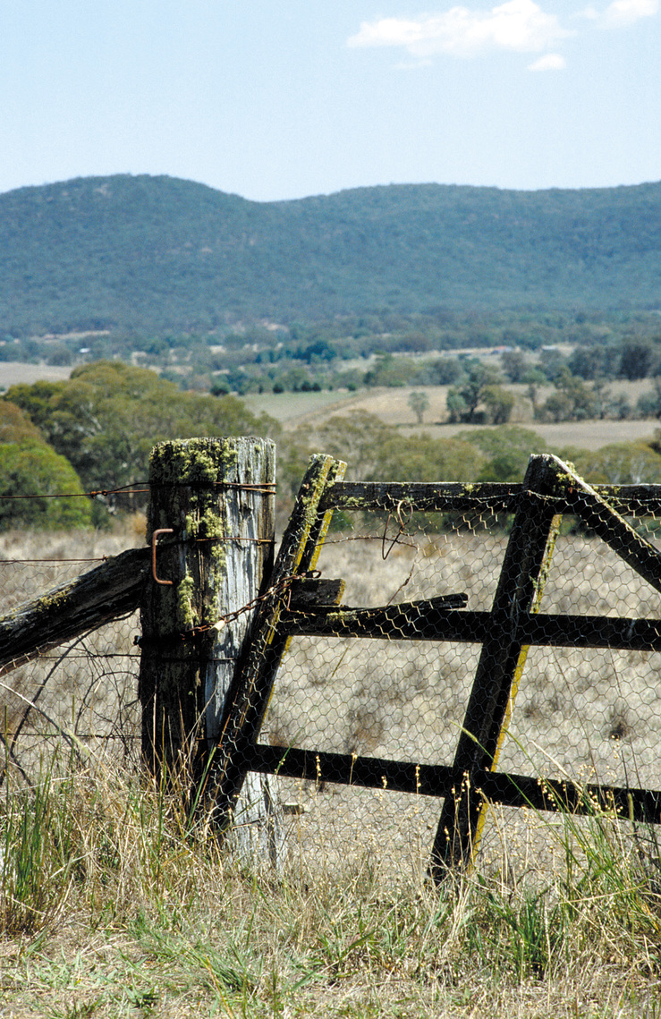 Gate and gatepost, entrance to rural property, Canberra. ACT...
