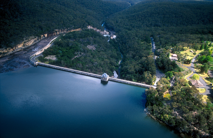Aerial view of the Cataract Dam, Reservoir and spillway, NSW...