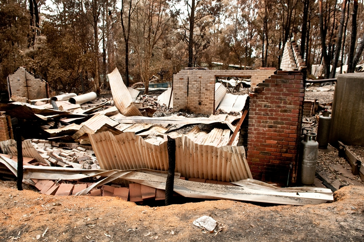 A destroyed property at Kinglake after the 'Black Saturday' ...