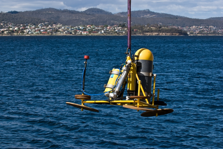 A Fleck unit being deployed in the Derwent River