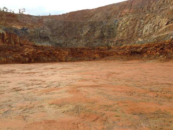 View of a mine pit after the treated water has been released
