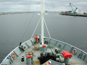 Bow of RV Southern Surveyor view from bridge