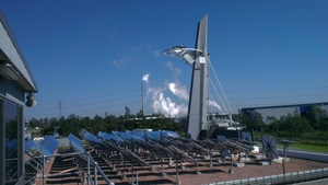 A side view of a solar tower at the CSIRO Energy Centre