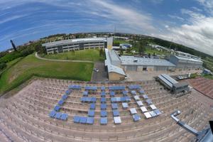 Solar panels spelling out CSIRO