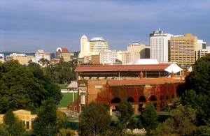 Adelaide Cricket Ground with the city of Adelaide in the background. SA. 1995.