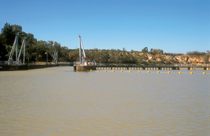 Gates open and green light on indicates that a riverboat is now able to enter Lock 4 on the Murray River, downstream from Berri, SA. 2004.