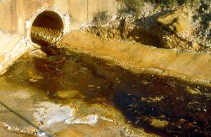 Acid leachate from Brukunga Mine in the Adelaide Hills, SA. 1993.