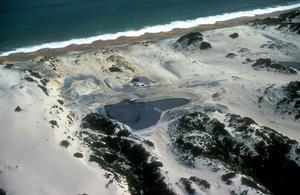 Waste disposal ponds in coastal sand dunes near Bunbury, WA. 1983.