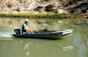 Fisherman on Murray River near Cadell, SA. 2006.