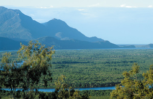 Hinchinbrook Island, channel and mangroves, as seen from lookout near Cardwell, QLD.