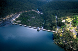 Aerial view of the Cataract Dam, Reservoir and spillway, NSW. 1999.