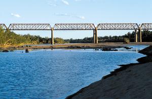 Late afternoon view of the railway bridge across the Burdekin River, near Charters Towers. QLD.