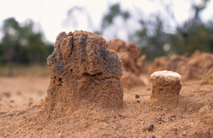 Closeup of dryland salinity induced sheet erosion at base of Mesa landscape just west of Charters Towers, Northern QLD.