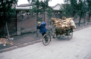 Transporting fuel in village, northern China. 1991.