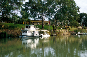 Leisurecraft and housing along the Murray River near Cobdogla, SA. 2006.